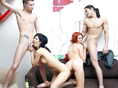 Extraordinaire party lovemaking episode with a ultra-kinky ginger-haired
