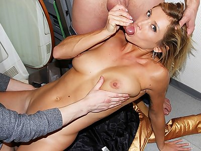 Kinky young naked dame works 2 fuck-sticks