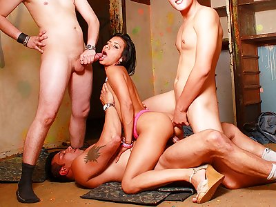 Unbelievable brown-haired fuckslut in super-hot Dp rendezvous with 3 fuck-sticks